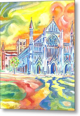 St Albans Abbey - Rainbow Celebration Metal Print