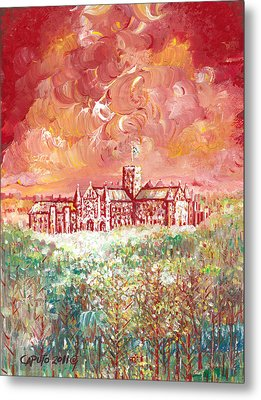 St Albans Abbey - Stormy Weather Metal Print