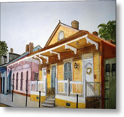 St. Ann Street Scene - French Quarter Metal Print