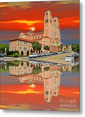 St Anne Church Of The Sunset In San Francisco With A Reflection  Metal Print