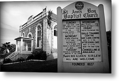 St. Ann's Bay Baptist Church With Sign Metal Print