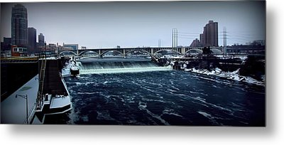 St Anthony Falls Minneapolis Metal Print by Amanda Stadther