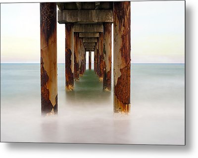 St. Augustine Beach Pier Metal Print by Marion Johnson