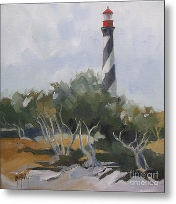 St Augustine Lighthouse First Light Metal Print by Mary Hubley