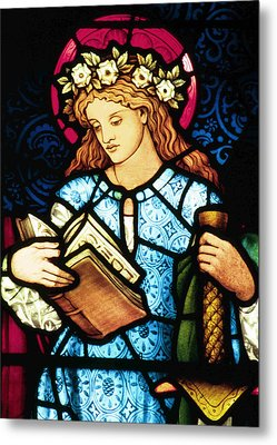 St Catherine Of Alexandria In Stained Glass Metal Print