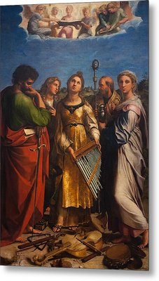 St. Cecilia With Sts. Paul John Augustine And Mary Magdalene Metal Print