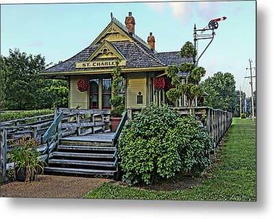 St Charles Station On The Katty Trail Look West Dsc00849 Metal Print by Greg Kluempers