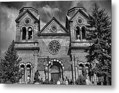 St. Francis Cathedral Basilica Study 5 Bw Metal Print