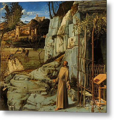 St Francis Of Assisi In The Desert Metal Print by Giovanni Bellini