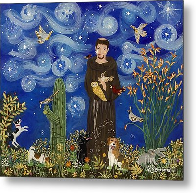 St. Francis Starry Night Metal Print by Sue Betanzos
