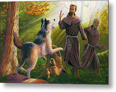 St. Francis Taming The Wolf Metal Print by Steve Simon