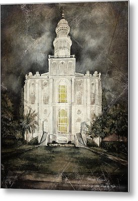 St. George Utah Temple At Night Metal Print