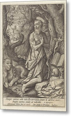 St. Jerome As A Penitent In The Desert, Hieronymus Wierix Metal Print
