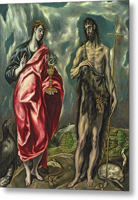 St John The Evangelist And St John The Baptist Metal Print by El Greco Domenico Theotocopuli