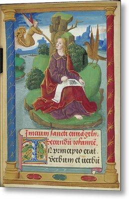 St John Writing His Gospel Metal Print