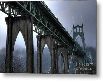 St Johns Bridge Oregon Metal Print by Bob Christopher