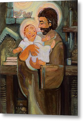 St. Joseph And Baby Jesus Metal Print by Jen Norton