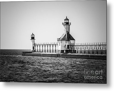 St. Joseph Lighthouses Black And White Picture  Metal Print by Paul Velgos