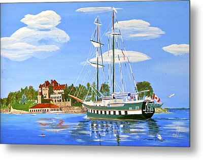Metal Print featuring the painting St Lawrence Waterway 1000 Islands by Phyllis Kaltenbach