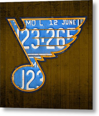 St Louis Blues Hockey Team Retro Logo Vintage Recycled Missouri License Plate Art Metal Print
