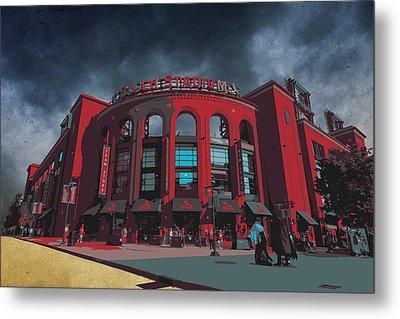 St. Louis Busch Stadium Cardinals 9162 Art Metal Print by David Haskett