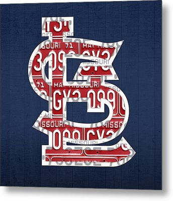 St. Louis Cardinals Baseball Vintage Logo License Plate Art Metal Print by Design Turnpike