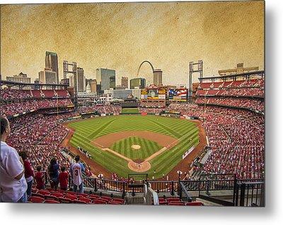 St. Louis Cardinals Busch Stadium Texture 9252 Metal Print by David Haskett