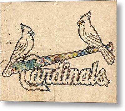 St Louis Cardinals Poster Art Metal Print
