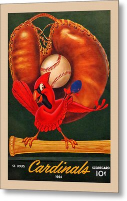 St. Louis Cardinals Vintage 1954 Scorecard Metal Print by Big 88 Artworks