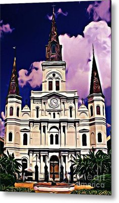 St Louis Cathedral In New Orleans Metal Print by John Malone