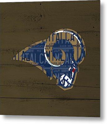 St Louis Rams Football Team Retro Logo Recycled Missouri License Plate Art Metal Print by Design Turnpike