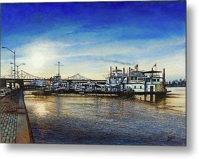 Metal Print featuring the painting St. Louis Riverfront by Michael Frank