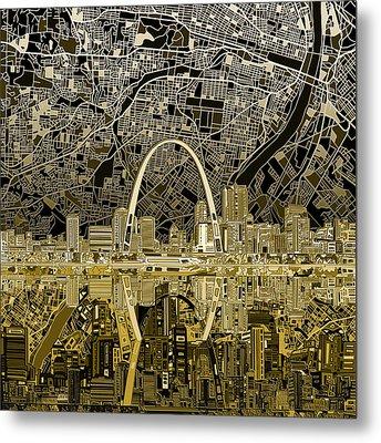 St Louis Skyline Abstract Metal Print by Bekim Art