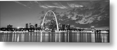 Metal Print featuring the photograph St. Louis Skyline At Dusk Gateway Arch Black And White Bw Panorama Missouri by Jon Holiday