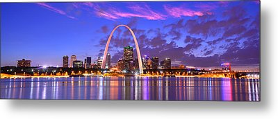 Metal Print featuring the photograph St. Louis Skyline At Dusk Gateway Arch Color Panorama Missouri by Jon Holiday