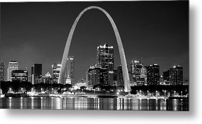 Metal Print featuring the photograph St. Louis Skyline At Night Gateway Arch Black And White Bw Panorama Missouri by Jon Holiday