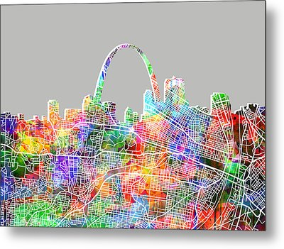 St Louis Skyline Watercolor 3 Metal Print