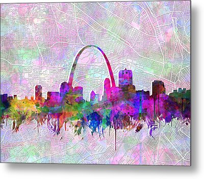 St Louis Skyline Watercolor 6 Metal Print
