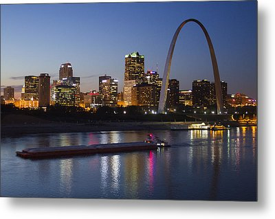 St Louis Skyline With Barges Metal Print by Garry McMichael