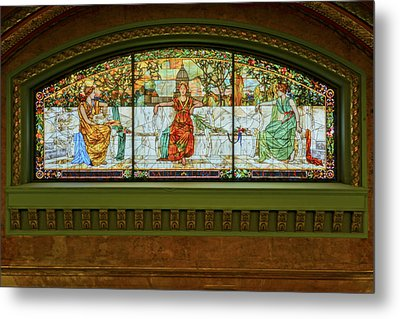 St Louis Union Station Allegorical Window Metal Print by Greg Kluempers
