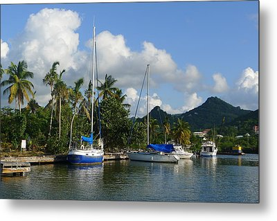 St. Lucia - Cruise - Boats At Dock Metal Print by Nora Boghossian