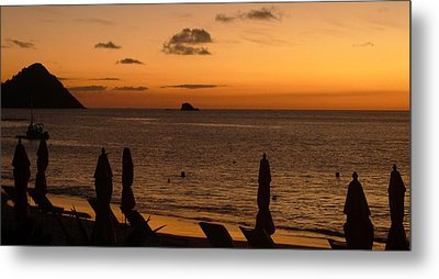Metal Print featuring the photograph St. Lucia - Sundown - Closed Umbrellas by Nora Boghossian