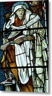 St Luke In Stained Glass Metal Print by Philip Ralley