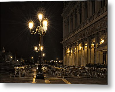 St Mark's Square At Night Metal Print by Marion Galt