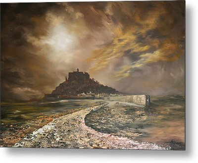 Metal Print featuring the painting St Michaels Mount Cornwall by Jean Walker