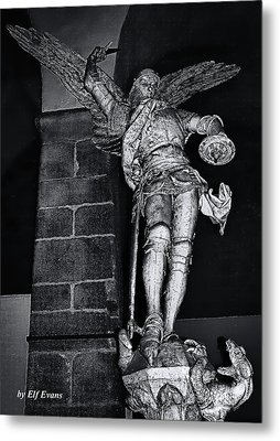 St. Michel Slaying The Dragon Metal Print by Elf Evans