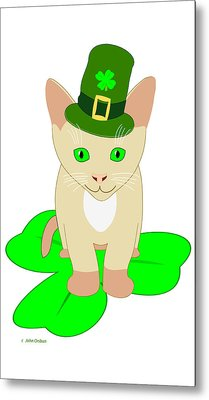 St. Patrick's Day Cat Metal Print