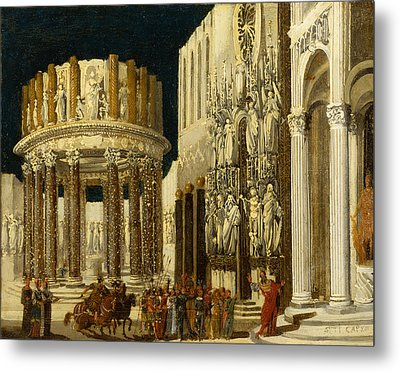 St Paul Preaching To The Athenians Metal Print by Francois de Nome
