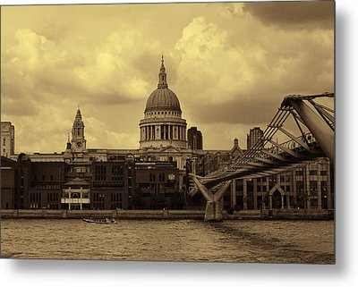 St Paul's Cathedral And Millennium Bridge London Metal Print by Nicky Jameson