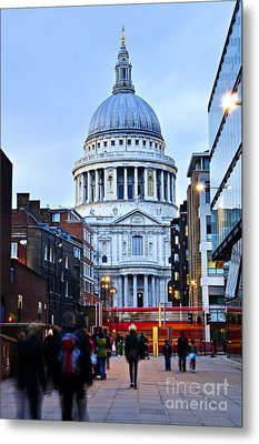 St. Paul's Cathedral At Dusk Metal Print by Elena Elisseeva